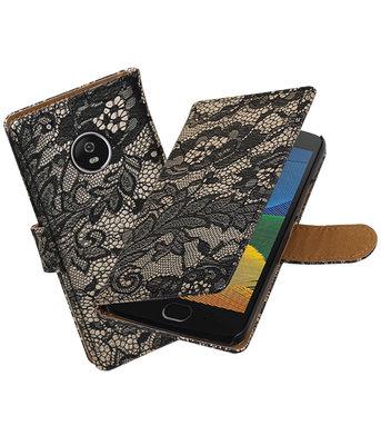 Hoesje voor Motorola Moto G5 Lace booktype Zwart