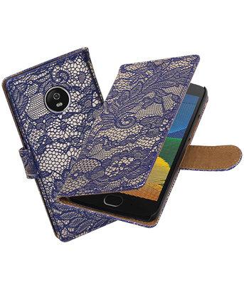 Hoesje voor Motorola Moto G5 Lace booktype Blauw