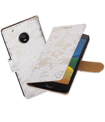 Hoesje voor Motorola Moto G5 Lace booktype Wit