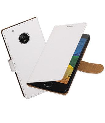 Hoesje voor Motorola Moto G5 Effen booktype Wit