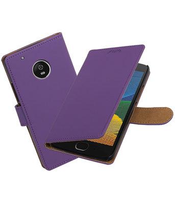 Hoesje voor Motorola Moto G5 Plus Effen booktype Paars