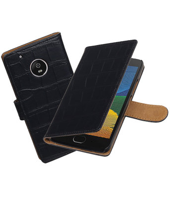 Hoesje voor Motorola Moto G5 Plus Krokodil booktype Zwart
