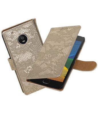 Hoesje voor Motorola Moto G5 Plus Lace Effen booktype Goud