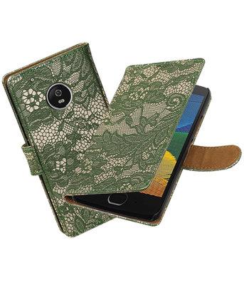 Hoesje voor Motorola Moto G5 Plus Lace Effen booktype Donker Groen
