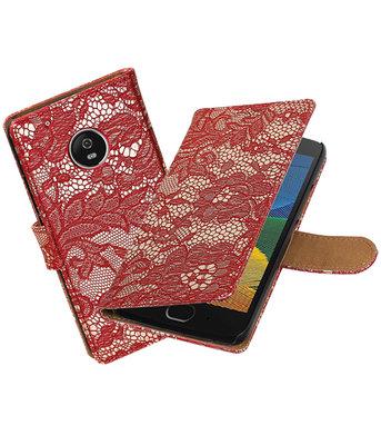 Hoesje voor Motorola Moto G5 Plus Lace Effen booktype Rood