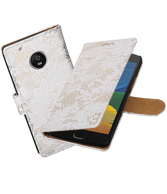 Hoesje voor Motorola Moto G5 Plus Lace Effen booktype Wit