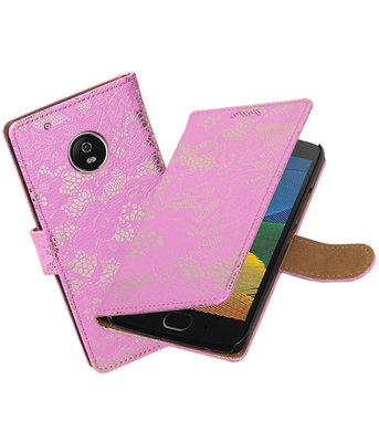Hoesje voor Motorola Moto G5 Plus Lace Effen booktype Roze