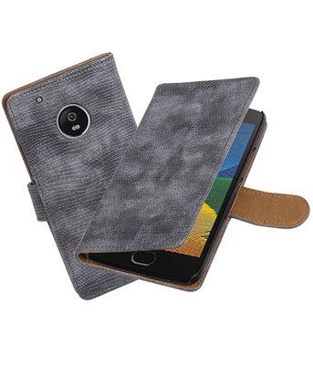 Hoesje voor Motorola Moto G5 Plus Mini Slang Effen booktype Grijs