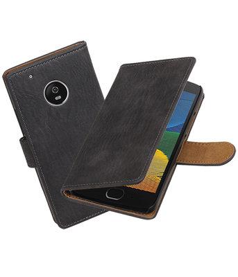 Hoesje voor Motorola Moto G5 Plus Hout booktype Grijs
