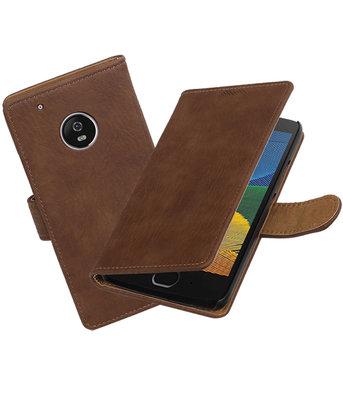 Hoesje voor Motorola Moto G5 Plus Hout booktype Bruin