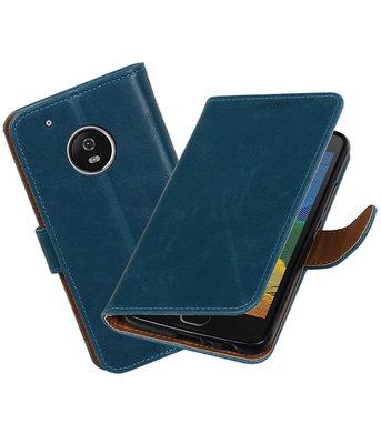Hoesje voor Motorola Moto G5 Plus Pull-Up booktype Blauw