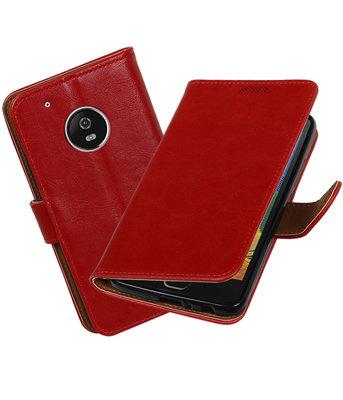 Hoesje voor Motorola Moto G5 Plus Pull-Up booktype Rood
