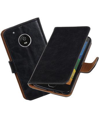 Hoesje voor Motorola Moto G5 Plus Pull-Up booktype Zwart