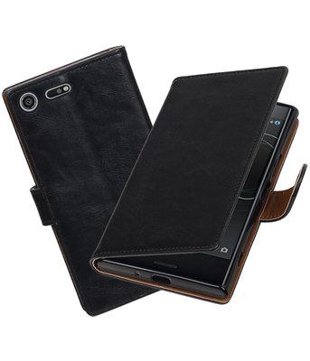Hoesje voor Sony Xperia XZ Premium Pull-Up booktype Zwart