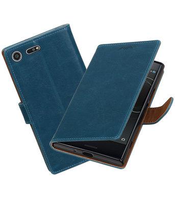 Hoesje voor Sony Xperia XZ Premium Pull-Up booktype Blauw