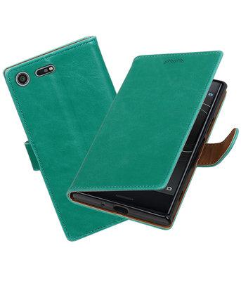 Hoesje voor Sony Xperia XZ Premium Pull-Up booktype Groen