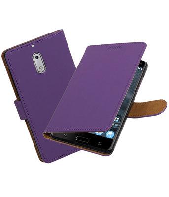 Hoesje voor Nokia 6 Effen booktype Paars