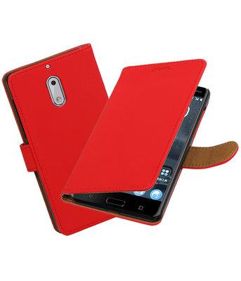 Hoesje voor Nokia 6 Effen booktype Rood