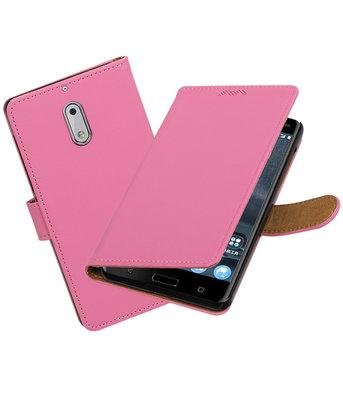 Hoesje voor Nokia 6 Effen booktype Roze