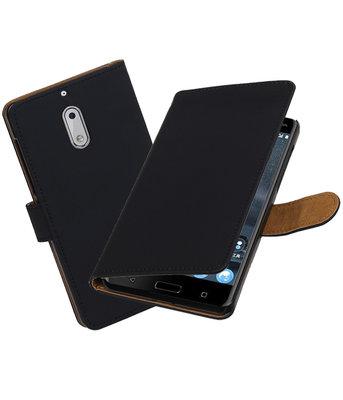 Hoesje voor Nokia 6 Effen booktype Zwart