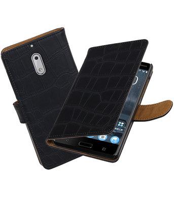 Hoesje voor Nokia 6 Krokodil booktype Zwart