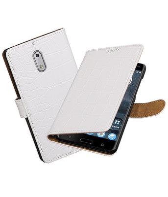 Hoesje voor Nokia 6 Krokodil booktype Wit