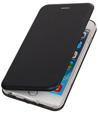 Hoesje voor Apple iPhone 6 Plus / 6s Plus Folio leder look booktype Zwart