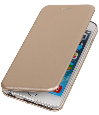 Hoesje voor Apple iPhone 6 Plus / 6s Plus Folio leder look booktype Goud