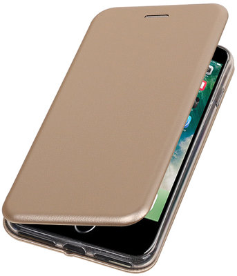Apple iPhone 7 Plus / 8 Plus Folio leder look booktype hoesje Goud