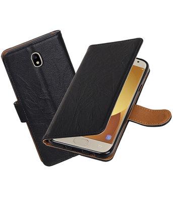 Samsung Galaxy J7 2017 J730F Echt Leer Leder booktype hoesje Zwart