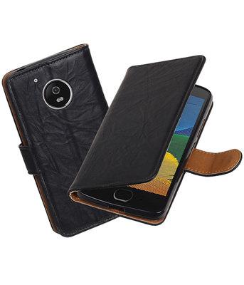 Hoesje voor Motorola Moto G4 / G4 Plus Echt Leer Leder booktype Zwart