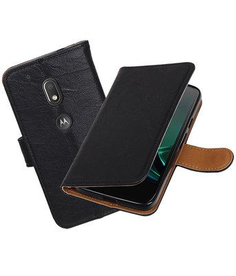 Hoesje voor Motorola Moto G4 Play Echt Leer Leder booktype Zwart