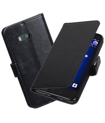 Zwart Portemonnee booktype Hoesje voor HTC U11