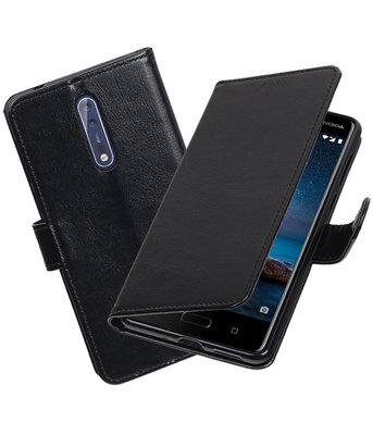 Zwart Portemonnee booktype Hoesje voor Nokia 8
