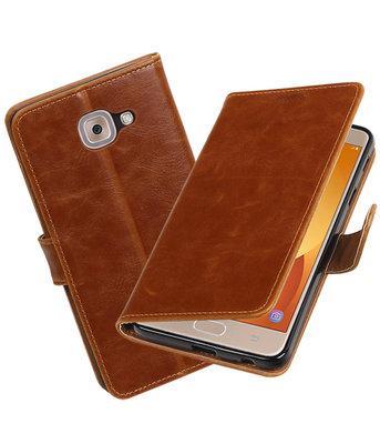 Hoesje voor Samsung Galaxy J7 Max Pull-Up booktype Bruin