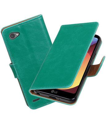 Hoesje voor LG Q6 Pull-Up booktype groen