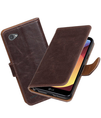 Hoesje voor LG Q6 Pull-Up booktype mocca