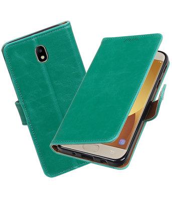 Hoesje voor Samsung Galaxy J7 2017 / Pro Pull-Up booktype Groen