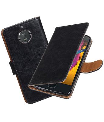 Hoesje voor Motorola Moto G5s Pull-Up booktype zwart