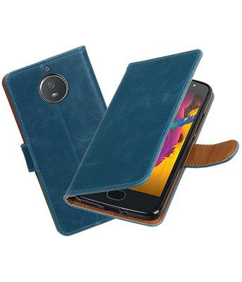 Hoesje voor Motorola Moto G5s Pull-Up booktype blauw