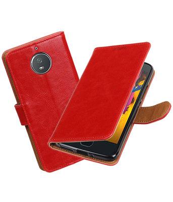 Hoesje voor Motorola Moto G5s Pull-Up booktype rood