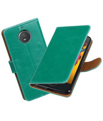 Hoesje voor Motorola Moto G5s Pull-Up booktype groen