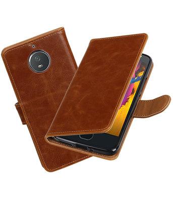 Hoesje voor Motorola Moto G5s Pull-Up booktype bruin
