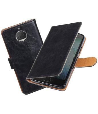 Hoesje voor Motorola Moto G5s Plus Pull-Up booktype zwart