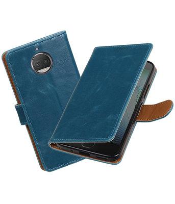 Hoesje voor Motorola Moto G5s Plus Pull-Up booktype blauw