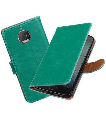 Hoesje voor Motorola Moto G5s Plus Pull-Up booktype groen