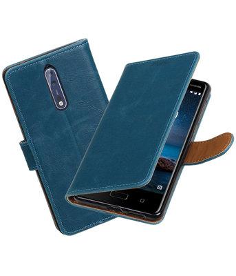 Hoesje voor Nokia 8 Pull-Up booktype blauw