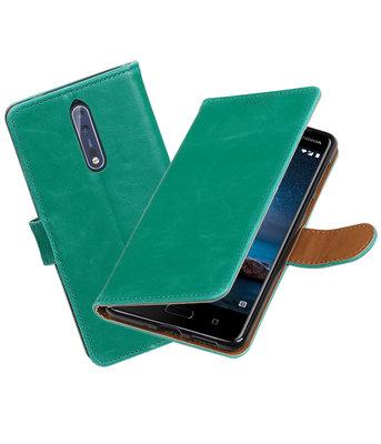 Hoesje voor Nokia 8 Pull-Up booktype groen