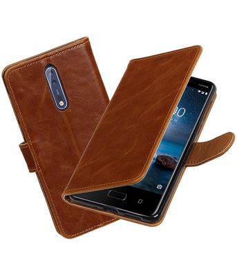 Hoesje voor Nokia 8 Pull-Up booktype bruin