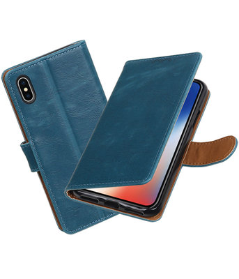 Apple iPhone X Pull-Up booktype hoesje Blauw